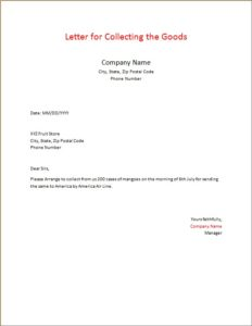 Letter for Collecting the Goods
