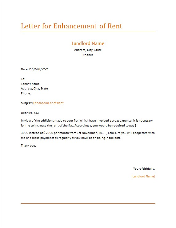 Letter for Enhancement of Rent