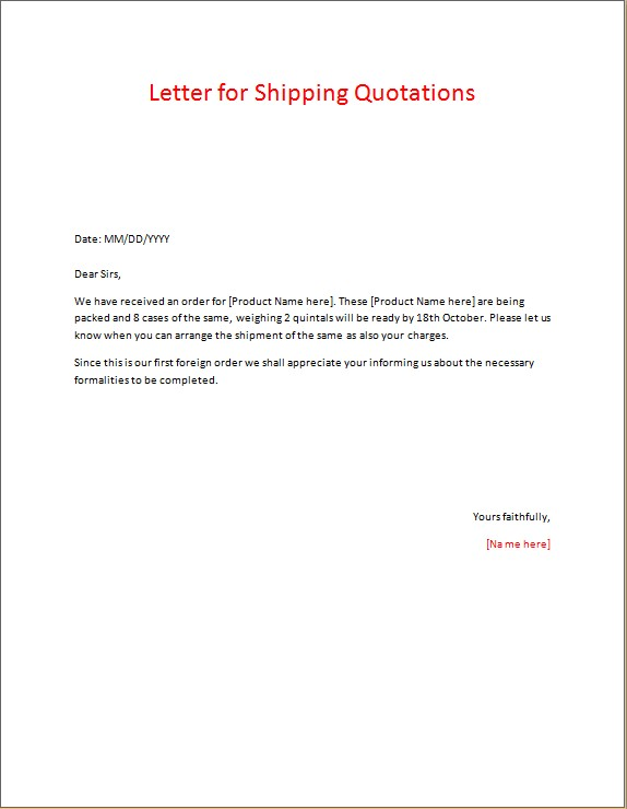 Letter for Shipping Quotations