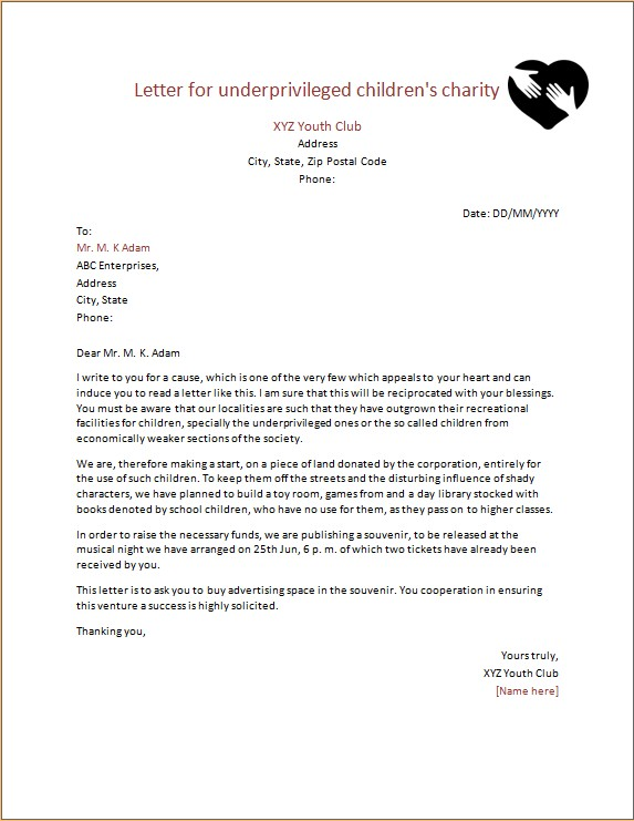 Letter for underprivileged children Charity