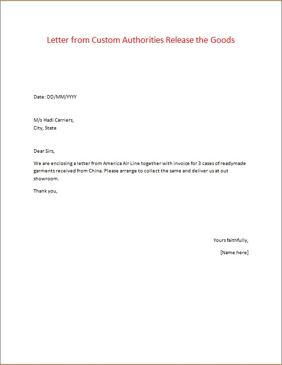 Letter from Custom Authorities Release the Goods