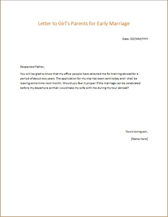 Letter to Girls Parents for Early Marriage
