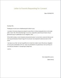 Letter to Parents Requesting for Consent