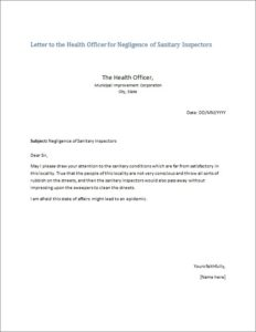 Letter to the Health Officer for Negligence of Sanitary Inspectors