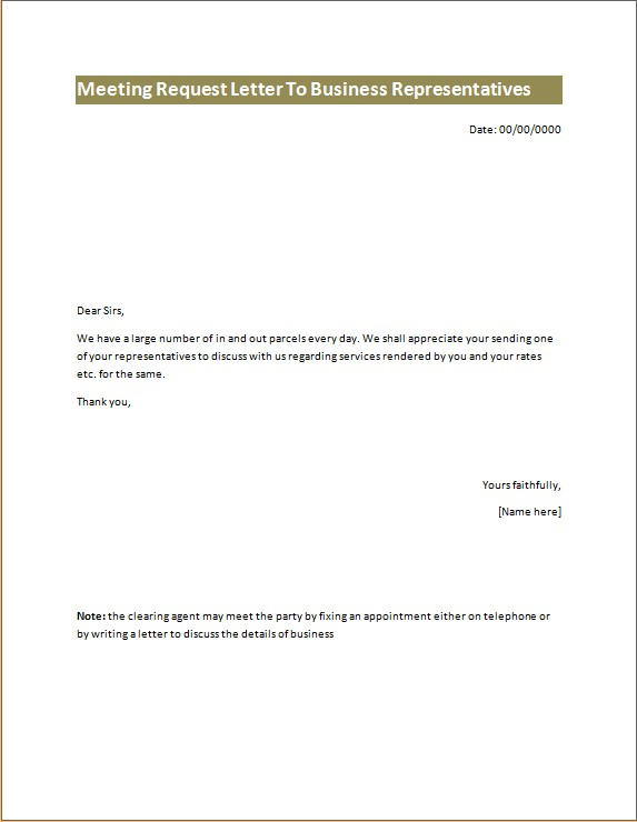 Meeting Request Letter to Business Representative