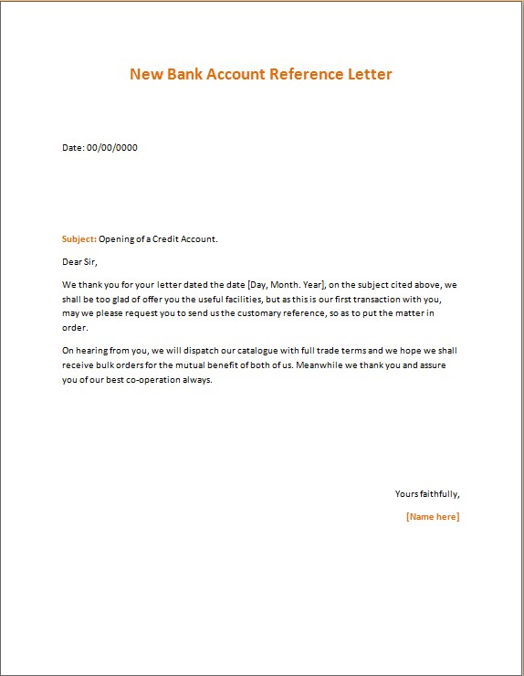 New Bank Account Reference Letter