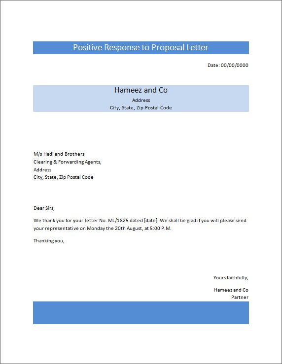 Positive Response to Proposal Letter