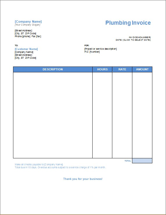 Plumbing Service invoice with hours and rate