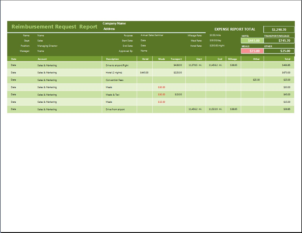 Reimbursement Request Form Template