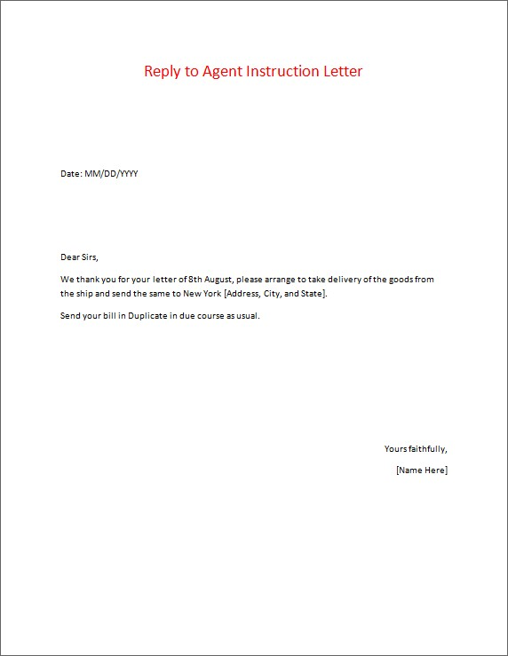 Reply to Agent Instruction Letter