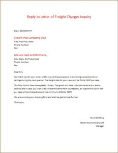 Reply to Letter of Freight Charges inquiry