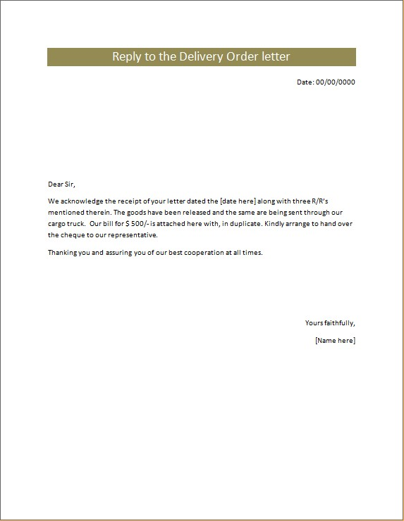 Reply to the Delivery Order Letter