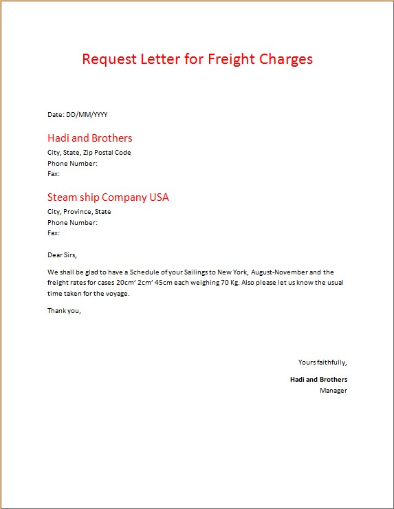 Request Letter for Freight Charges