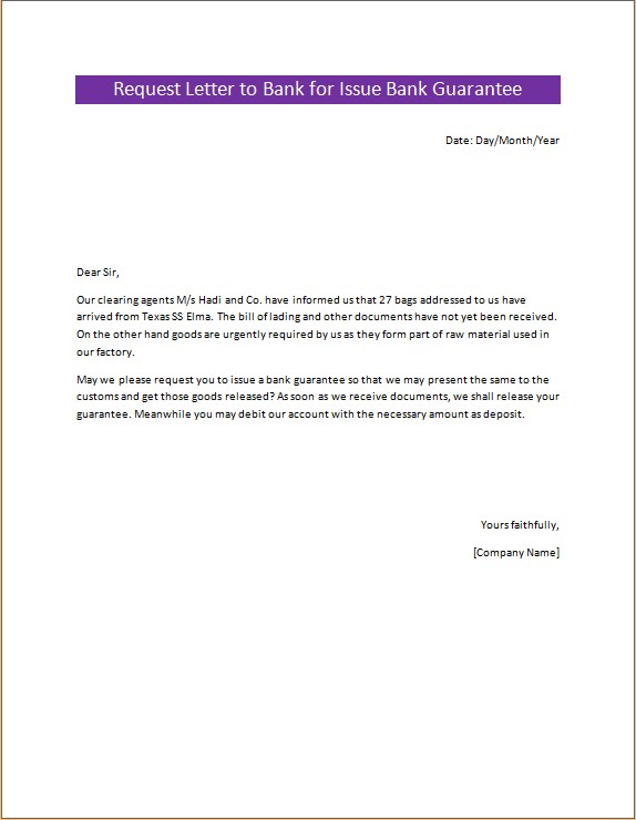 Request Letter to Bank for Issue Bank Guarantee