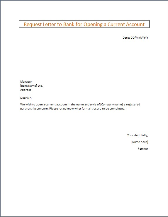 Request Letter to Bank for Opening a Current Account