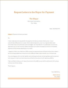Request Letter to the Mayor for payment