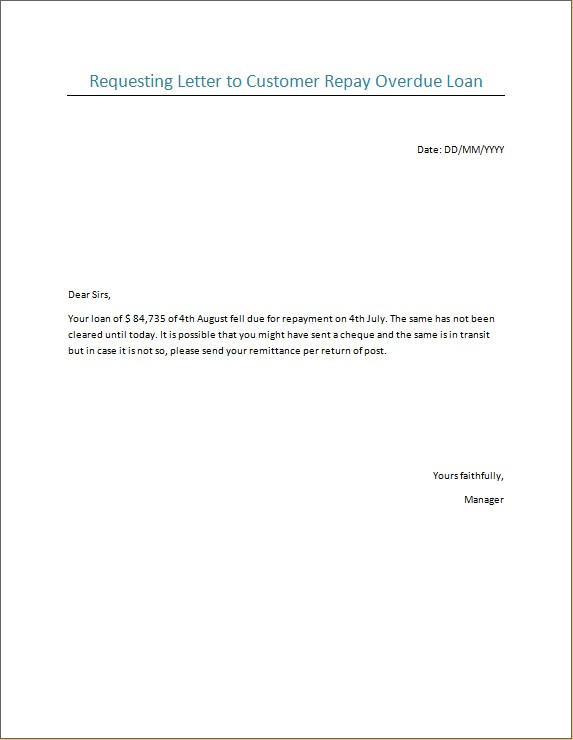Requesting Letter to Customer Repay Overdue Loan