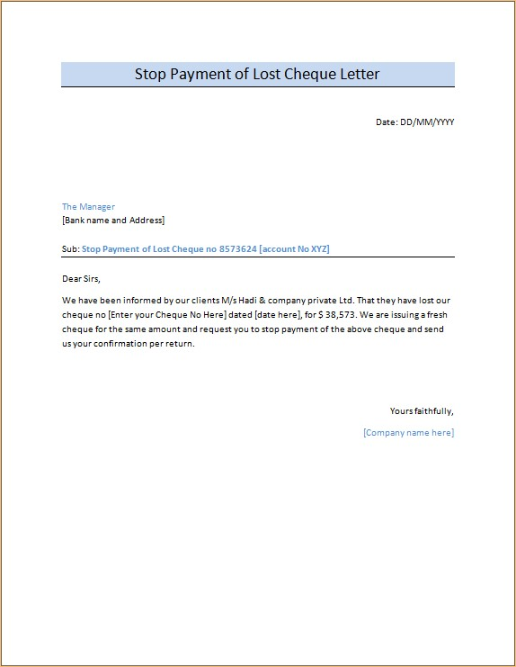 Stop Payment of Lost Cheque Letter