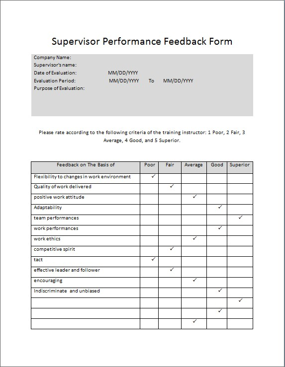 Supervisor Performance Feedback Form