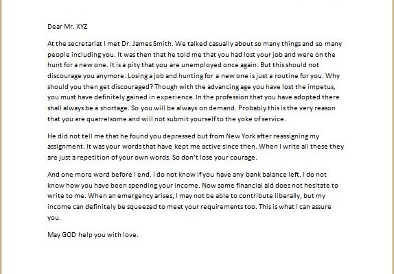 Sympathy Letter for Losing a Job
