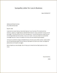 Sympathy Letter for Loss in Business