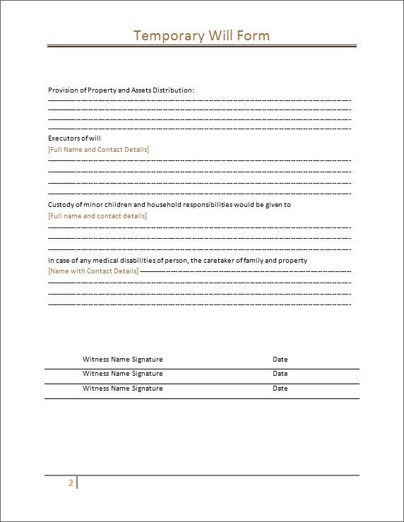 Temporary Will Form Sample Template 2