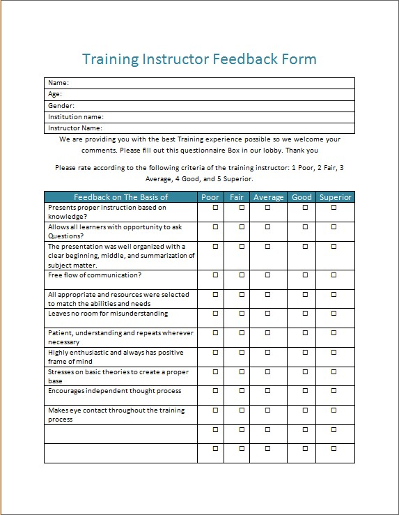 Training Instructor Feedback Form