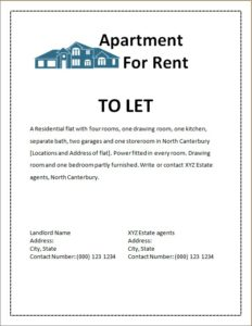 apartment for rent advertisement