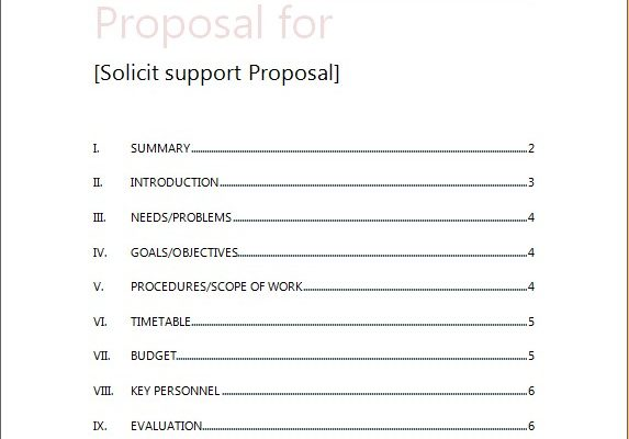 solicit support Proposal Template