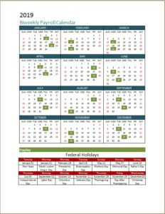2019 Biweekly Payroll Calendar With Holidays Schedule Template