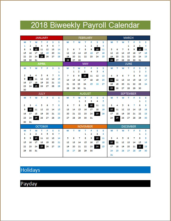 2018 biweekly payroll calendar template microsoft word excel templates. Black Bedroom Furniture Sets. Home Design Ideas