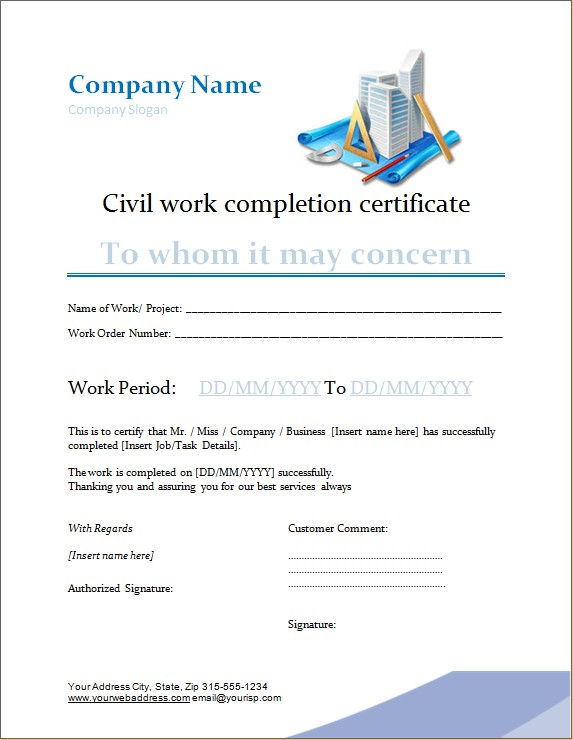 Civil Work Completion Certificate