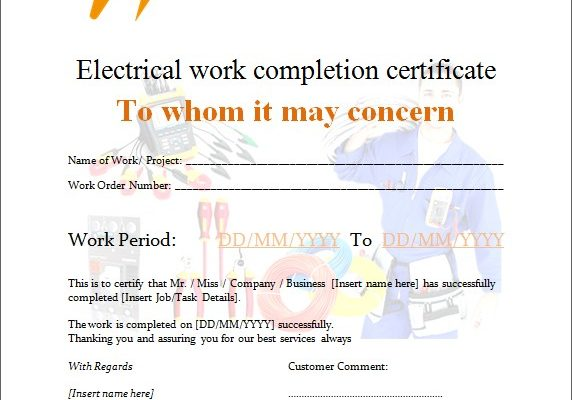 Electrical Work Completion Certificate