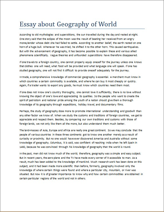 Essay about Geography of World