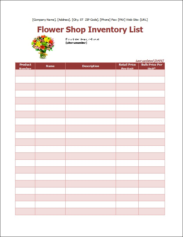 flower shop inventory list