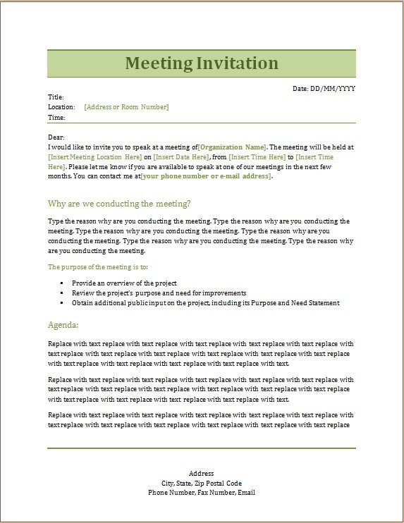 Meeting Invitation Template Word