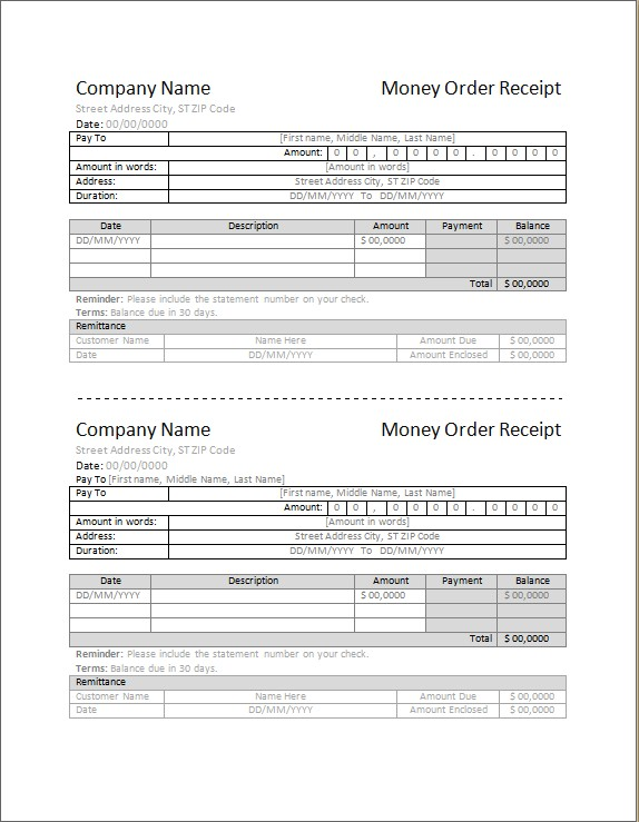 Money Order Receipt Template 2