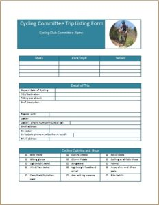 Cycling Committee Trip Listing Form