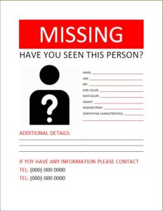 Missing Person Poster 1