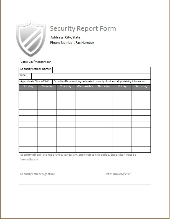 Security Daily Activity Report Template from wordxltemplates.com