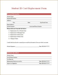 Student ID Card Replacement Form