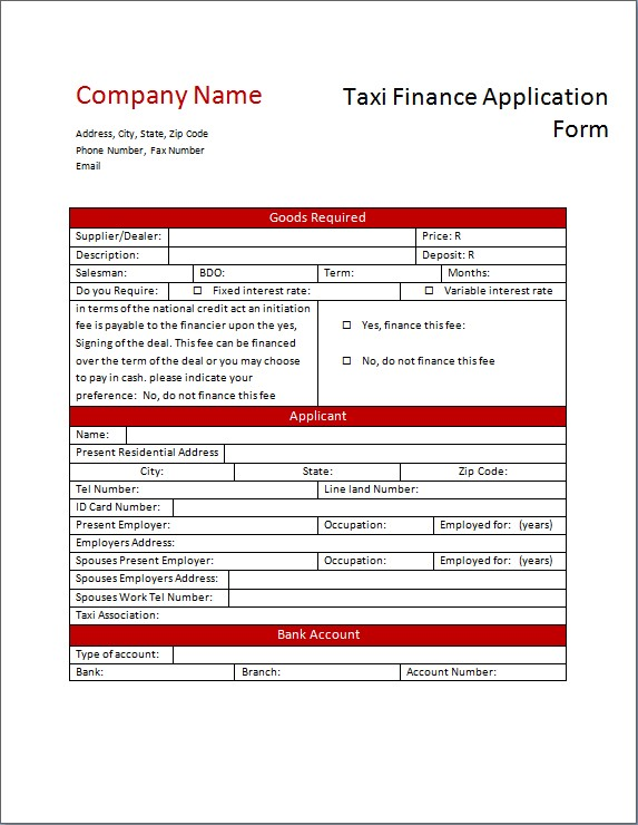Taxi Finance Application Form