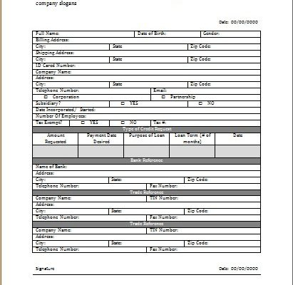 Credit Application Worksheet