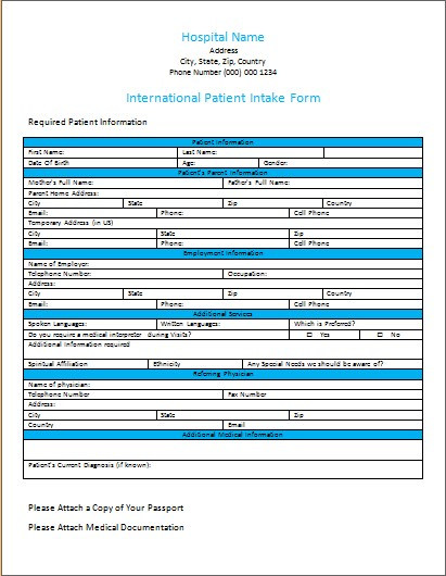 International Patient Intake Form