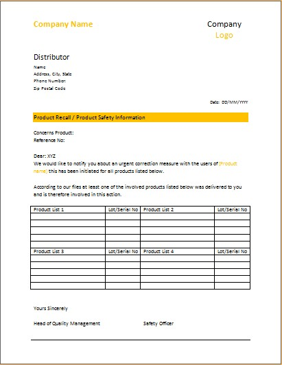 Product Recall Letter